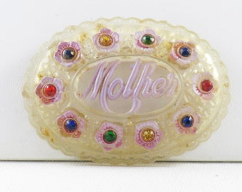 Vintage Clear Lucite and Rhinestone Mother Brooch Pin (B-2-4)