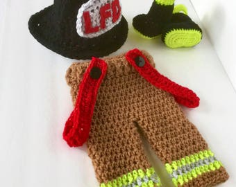 Personalized - Firefighter Outfit - Bunker Gear - Baby Shower Gift - Baby Firefighter Outfit - Fireman Gift - Turnout Gear - Costume - Prop