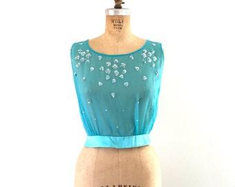 1950s Vintage Sheer Silk Beaded Blouse Sleeveless Shell Top Aqua Blue XS/S