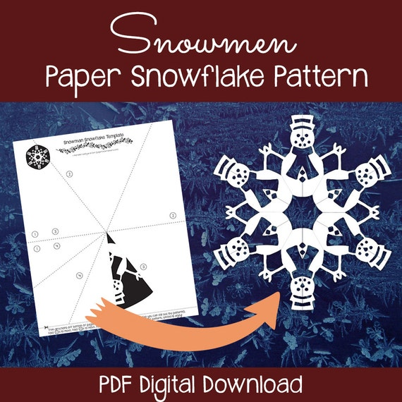 Snowmen paper snowflake pattern pdf digital download paper for How to make a real paper snowflake
