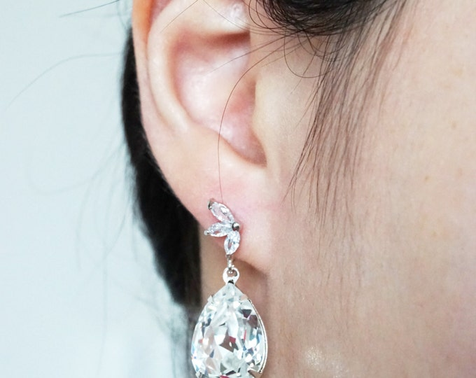 Ida - Whimsical Fairy Style Cubic Zirconia Earrings with Swarovski Clear Teardrop Crystal, Bridal, Bridesmaids, jewelry, fairy tale, wedding