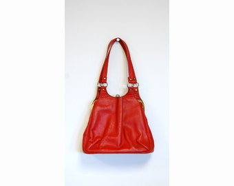 Vintage red leather purse handbag framed  1960s