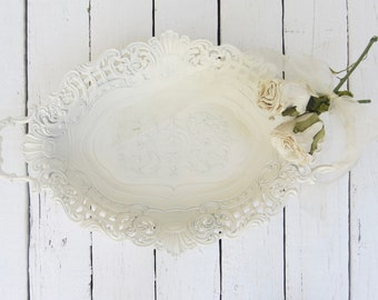 White Italian Bowl, Ornate Bowl, Metal Bowl, Serving Piece, Made In Italy, White Decor, Fancy Bowl, Centerpiece Bowl, Home Decor Bowl