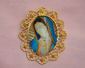 Our Lady of Guadalupe Jewelry Mother Virgin Mary Brooch Pin  or Pendant Necklace Handmade Jewelry