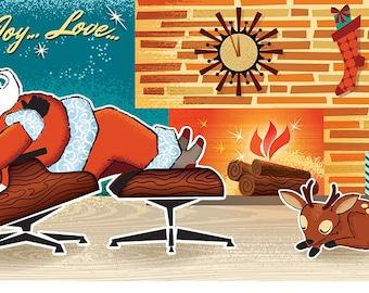 Sleeping Santa Christmas Cards, 8 Cds/color env, Vintage Christmas Cards | Retro Christmas Cards | Mid Century Modern Christmas Cards
