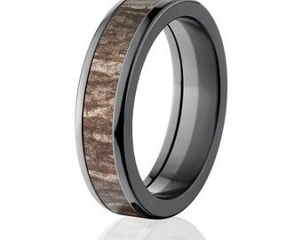 New 6MM rounded Branded Mossy Oak -Bottomland, Black Zirconium Ring, Bottom Land Pattern: 6HR-MO-Bottomland