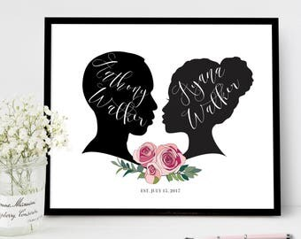 Wedding Guest Book Alternative Canvas Sign, Roses Flower Wedding Welcome Signs, Personalized Silhouette Reception Poster Guestbook Ideas