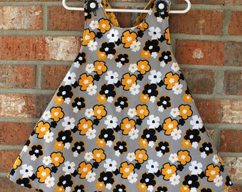Black White Yellow and Grey Floral and Bird Girl's Tunis Size 3T/4T Ready To Ship