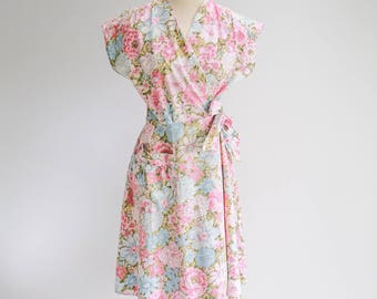 AS IS - Pastel Flower Wrap Day Dress - Sz S - M
