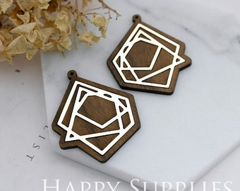Limited Edition - 2pcs Handmade 925 Silver Plated Brass Wooden Charm / Pendant, Perfect for Earring Necklace (LES06-S)