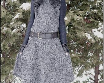 Dress - Steampunk - Long Sweater Dress - Gypsy Boho - Bohemian - Burning Man - Long Sleeves - Casual Long Dress - Paisley Grey - Size Medium