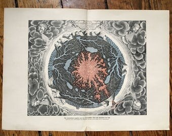 c. 1900 INNER EARTH CORE lithograph - underground magma & water flow to the volcanos - original antique print - geology science volcanic