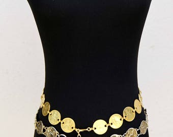 Two Vintage Gold Coin Belts