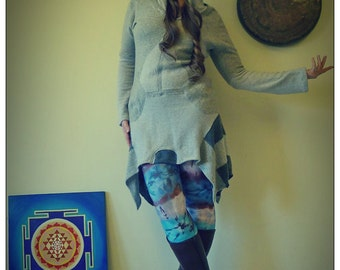Upcycled Gray 100% Cashmere Hoody Sweater Dress                        Made in England UK