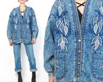 1990s Acid Wash Jean Jacket Embroidered Jean Jacket Leaves Embroidered Denim Jacket Oversized Slouchy Fit Snap Up Front Comfy (M/L) E244