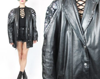 1980s Black Leather Jacket Sparkly Painted Leather Bomber Jacket Slouchy Boyfriend Holographic Raver Unisex New Wave Leather Blazer (M/L)