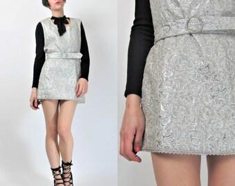 Vintage 1960s Wedding Dress MOD Mini Dress Party Silver Lurex Dress 60s Ultra Mini Dress Sleeveless Brocade Dress Rhinestone Belt 3075