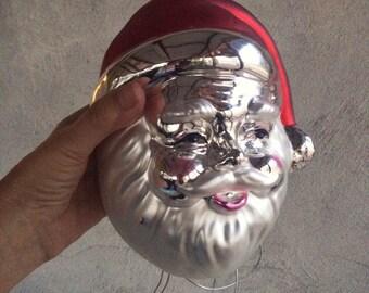 "Vintage 9"" blown glass Santa ornament, oversized Santa glass ornament, vintage Santa Claus Christmas decor, Santa collection, Santa decor"