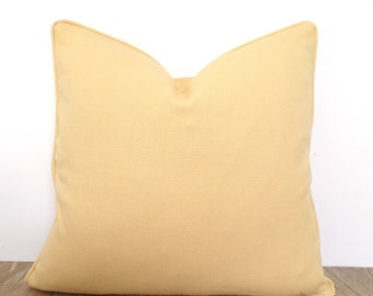 Yellow accent pillow cover 18x18, corn yellow cushion cover, textured throw pillow with piping
