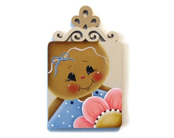 Ginger with Pink Flower Scrolled Top Fridge Magnet, Ornament, Shelf Sitter, Handpainted Wood Gingerbread Refrigerator Magnet, Hand Painted