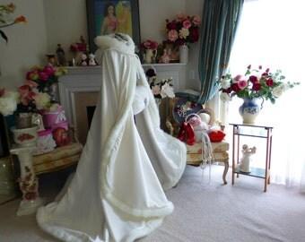 Victorian Winter Bridal cape Ivory / Ivory Satin 52/67 inch with Fur Trim Wedding Cloak Handmade in USA