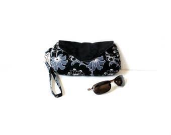 Wristlet clutchbag with detachable strap, cotton suede, black grey, casual clutch handbag, magnetic snap closure