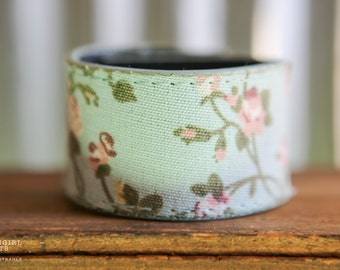 CUSTOM HANDSTAMPED CUFF - bracelet - personalized by Farmgirl Paints - pale blue and pink floral fabric overlay cuff