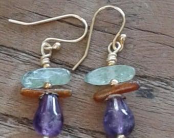 Amethyst Dangle Earrings,  gold plated wire, Coral, Green Garnet drop, gold plated wire Earrings