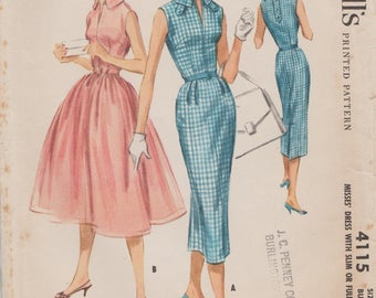McCalls 4115 / Vintage 50s Sewing Pattern / Dress / Size 14 Bust 34
