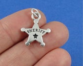 Sheriff Star Badge Charm - Silver Sheriff Badge Charm for Necklace or Bracelet