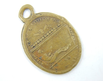 RARE Antique Saint Philomena - Corpus Mugnani Quiescit Catholic Medal - Bronze Charm - Patron Saint of Babies and Kids Y3