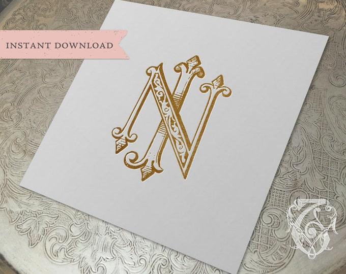 Vintage Wedding Monogram NJ JN Digital Download J N