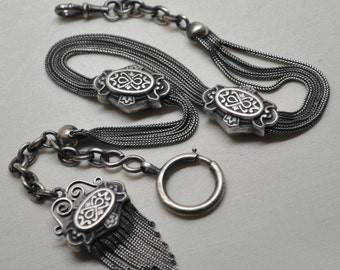 Antique Watch Chain Solid Silver Napoleon III Tassel Fob French Made in France