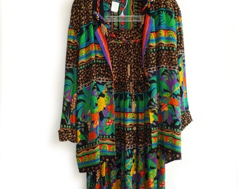 Vintage Carole Little 2 Pc Jacket and Skirt, Boho Chic Jacket and Skirt, Jacket Size 10, Skirt Size 8