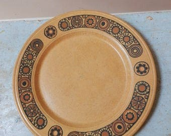 70s Kiln Craft Bacchus Salad Sandwich Plate Staffordshire Potteries Ltd Ironstone England Mid Mod Black Brown Flowers on Flecked Mustard
