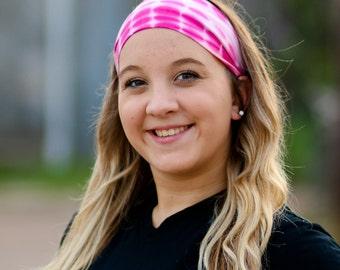 Pink Tie Dye Headwrap Hippie Headband Festival Head Wrap Pink Women's Headwrap Tye Dye Headband Soft Headwrap (#1020) S M L X