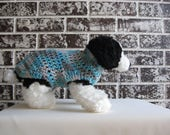 Classic canine sweater in teal and grey multi color; medium dog sweater, large dog sweater, teal dog sweater.