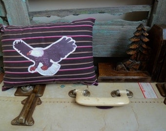 Americana Bald Eagle Transfer on Brown, Pink, & White Striped Upcycled Shirt Fabric, OOAK Small Cushion, Throw Pillow, Statement Cushion
