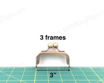 3 antique brass 3x1.5 metal coin purse frames