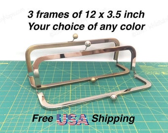 3 frames of 12x3.5 inch Nickel or Antique Brass purse frames for cinema purse, large handbags, totes or leather satchel