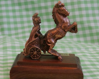 Vintage Souvenir of Rome Paperweight, Cast Metal Figure, Roman Soldier, Chariot, and Horses