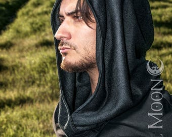 NEW The Cowl Hood Set in Solid Black Knit with Matching Cuffs by Opal Moon Designs (Unisex/ Men's/ One Size)