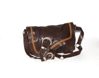 Vintage CHRISTIAN DIOR Gaucho Bag Dark Brown Leather  Long Strap Saddle Purse -AUTHENTIC-