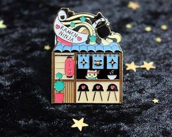 Ramen Ninja Shop for PinStreetPins - Kitty Cat Ramen Shack Collectible Soft Enamel with Epoxy Pin Enamel Pin