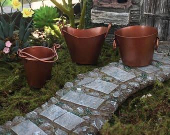 Miniature Buckets, Set of 3, Copper Look Buckets, Dollhouse Miniature, Fairy Garden Accessory, Miniature Garden Decor, Crafts, Toppers