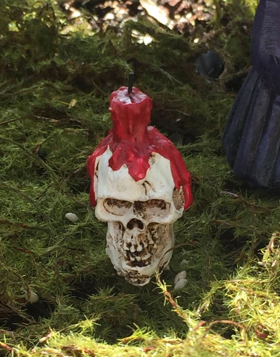Micro Miniature Skull and Candle Pick, Halloween Decor, Fairy Garden, Miniature Gardening Accessory, Terrariums, Crafts