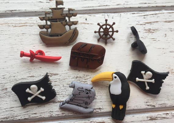 "Pirate Themed Buttons, Packaged Novelty Buttons ""A Pirate's Life"" #4300 by Buttons Galore, Ship, Skull Flags and More"