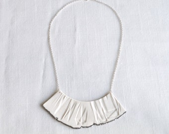 RUCHED No3 artisan porcelain bib necklace with silver accent and silver chain