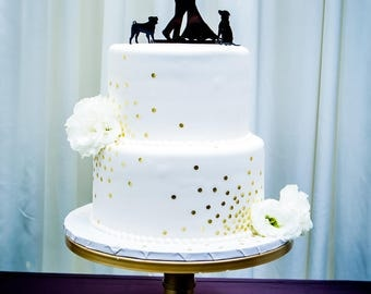 MADE In USA, With Pet Dog Wedding Cake Topper, Silhouette Wedding Cake Topper, Bride + Groom + Dog French Bulldog Pug Pet Family of 3
