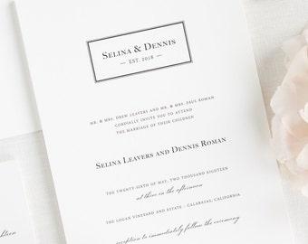 Boxed Monogram Wedding Invitations - Sample